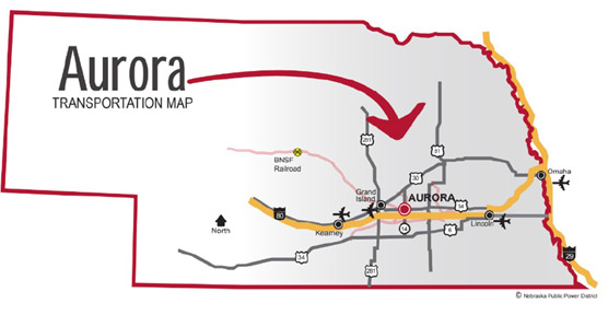 Transportation map of Aurora and surrounding areas